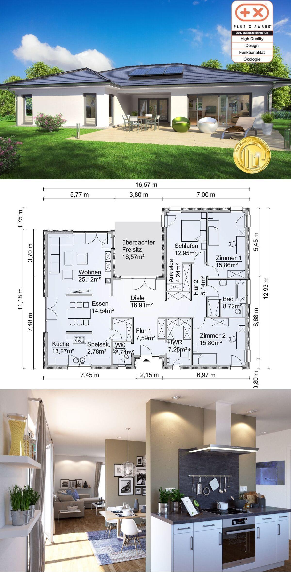 Bungalow Sh 169 Wb Walmdach Scanhaus Marlow Hausbaudirekt De In 2020 Bungalow House Plans House Plans Farmhouse House Layout Plans