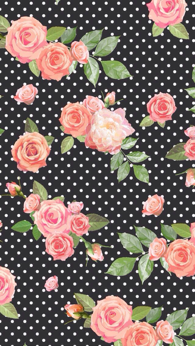 Floral black polka dot background wallpaper Fondos de