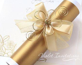 Gold flower scroll invitation sample handmade wedding tarjetas gold flower scroll invitation sample handmade wedding filmwisefo Images