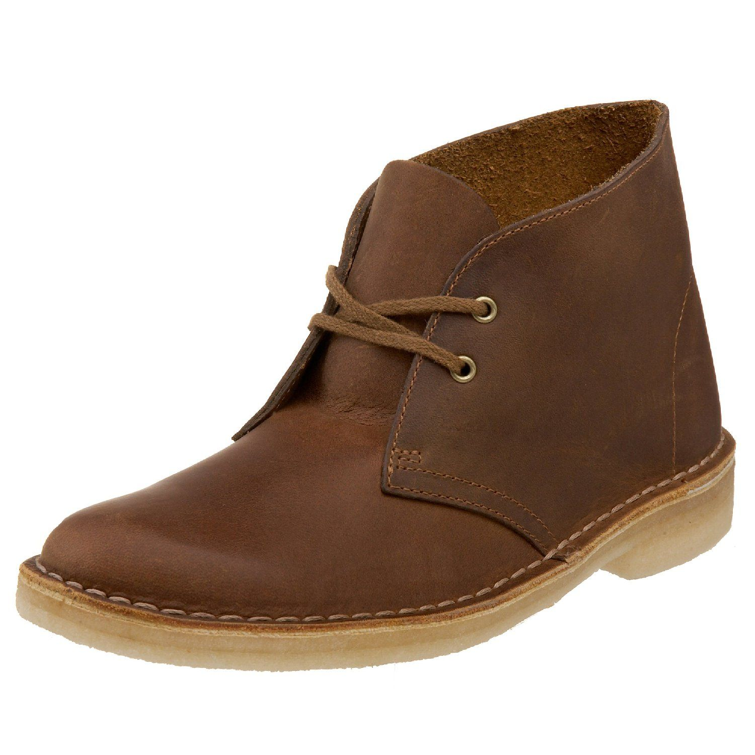 leather clarks desert boots in snow