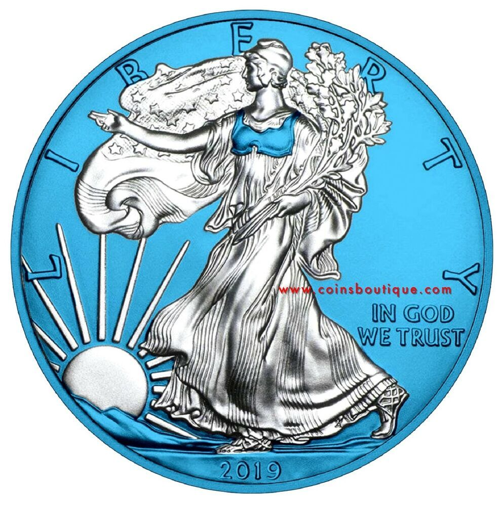Space Blue American Eagle 1oz Silver Eagle Coin With Coa Encapsulated Silver Coins Silver Eagle Coins Eagle Coin