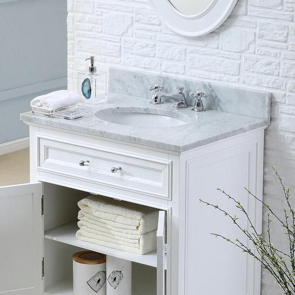 Water Creation Derby 24W 24 Inch Solid White Single Sink Bathroom Vanity    Overstock™