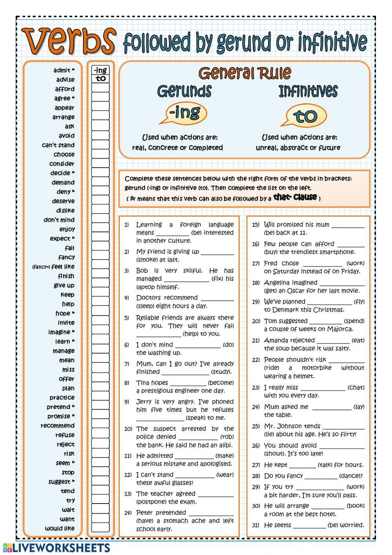 Gerundios E Infinitivos Hoja De Trabajo Gerundio O Infinitivo Como Aprender Ingles Basico Prepositions En Ingles Educacion Ingles