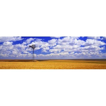 Windmill Wheat Field Othello Washington State USA Canvas Art - Panoramic Images (36 x 12)