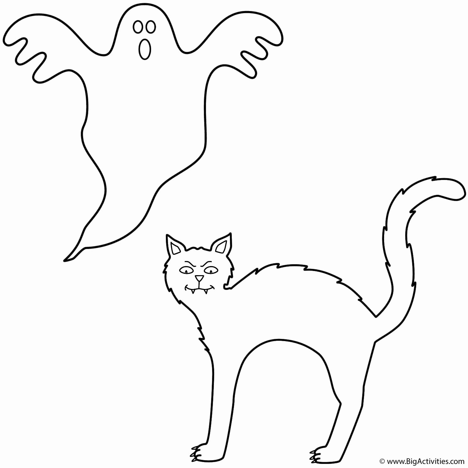 Black Cat Coloring Pages Fresh Black Cat With Ghost Coloring Page Halloween In 2020 Halloween Coloring Pages Halloween Activities For Kids Halloween Coloring