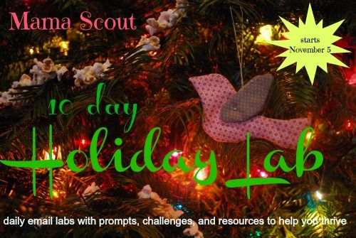 mamascout: 10 day holiday e-lab :: set intentions and create a meaningful, slow, crafty and healthy holiday season for your family.