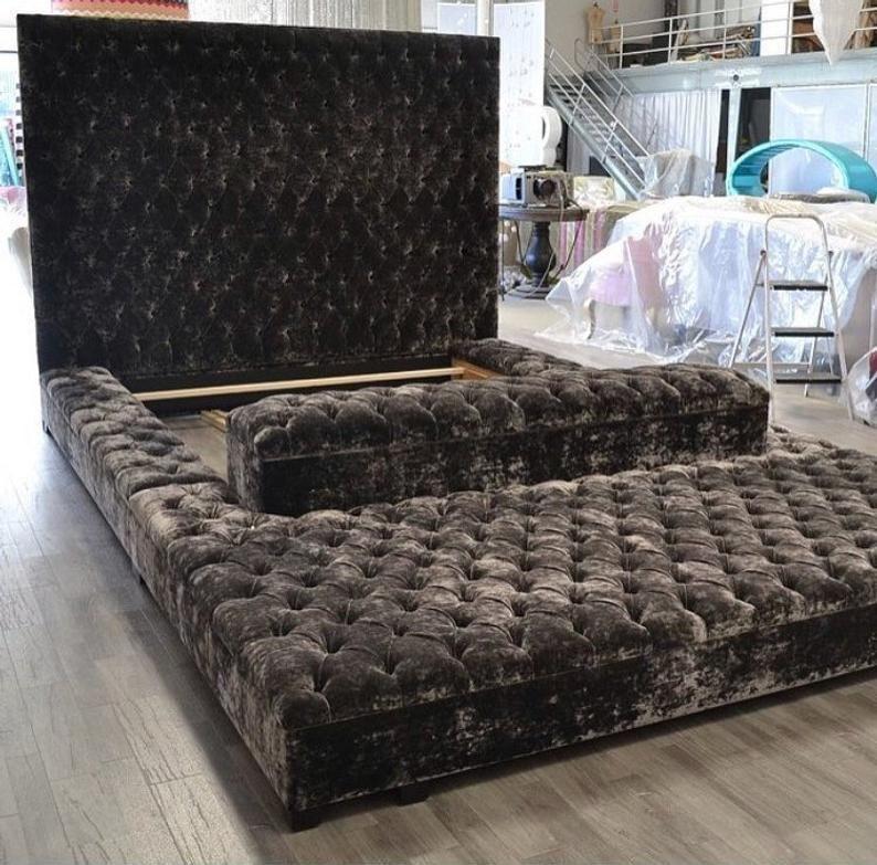 Tufted Velvet Platform Bed King Extra Large Wide B
