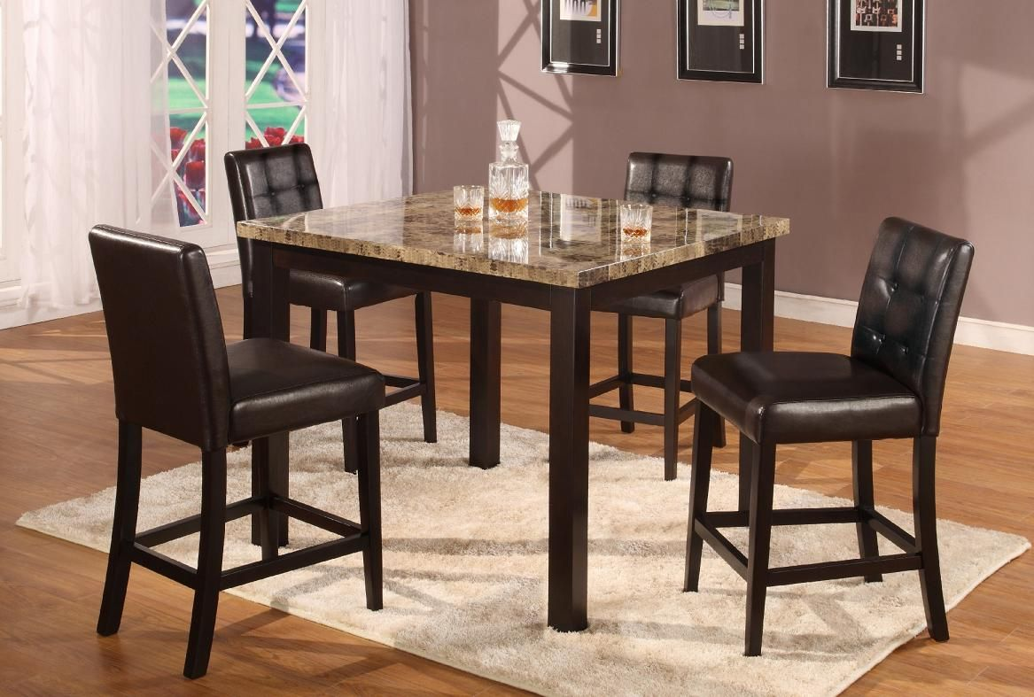5pc Dark Artificial Marble Top Counter Height Dinette Dinning Set  Table u0026 4 Chairs. With dark cappuccino finish chairs blends really well with cherry and ... & 5pc Dark Artificial Marble Top Counter Height Dinette Dinning Set ...