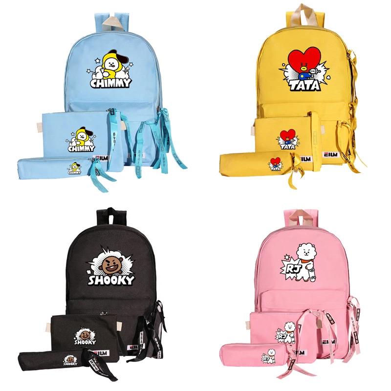 Bt21 Student School Backpack Set 5 Types Bts Merchandise Discount Online Shop Kpop Merchandise Online Shop Partyp Bts Bag Bts Backpack Cartoon Backpack