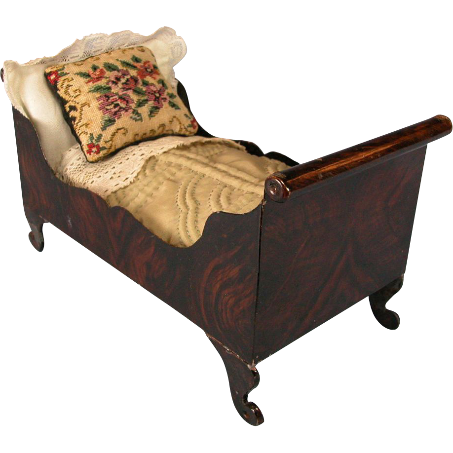 Antique German Dollhouse Tin Sleigh Bed by Rock and Graner