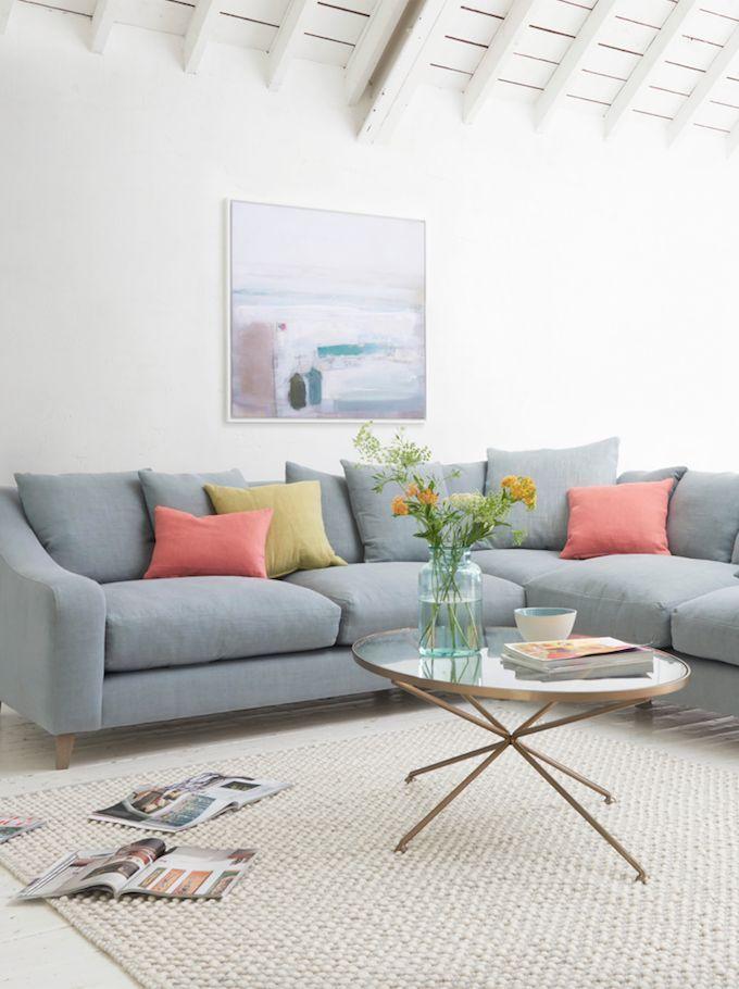Loaf S Deep And Comfy Even Sided Oscar Corner Sofa In Sea Salt Vintage Linen With Muted Scatter Cushions Corner Sofa Living Room Living Room Corner Sofa Design
