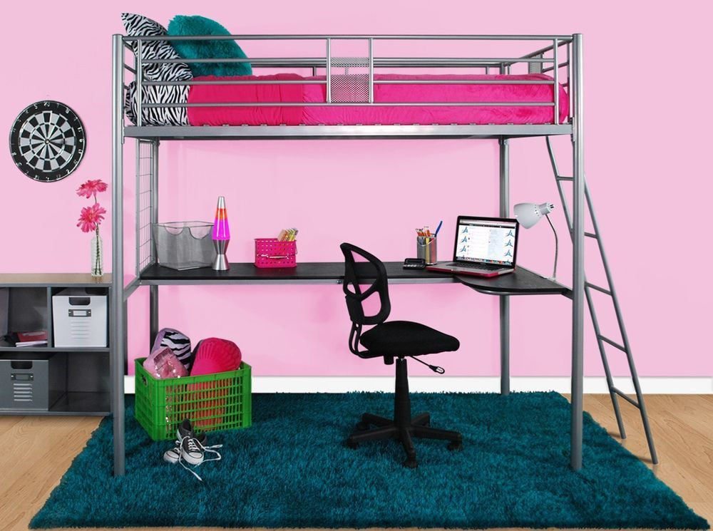 Twin Loft Bed Frame Metal Office Desk Girls Modern Bedroom ...