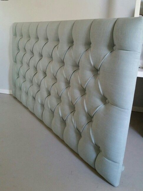King size pale blue tufted upholstered headboard custom wall mounted ...