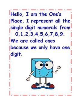 Place Value Student will write the numberal by counting the hundreds, tens, and ones cubes on the place value chart. Also posters are included ...