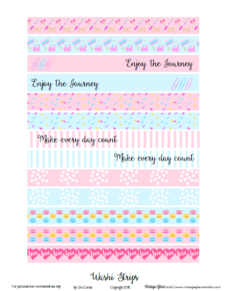 photo relating to Free Printable Washi Tape identify Slide Washi Tape Strips Planner Stickers - Free of charge Printable