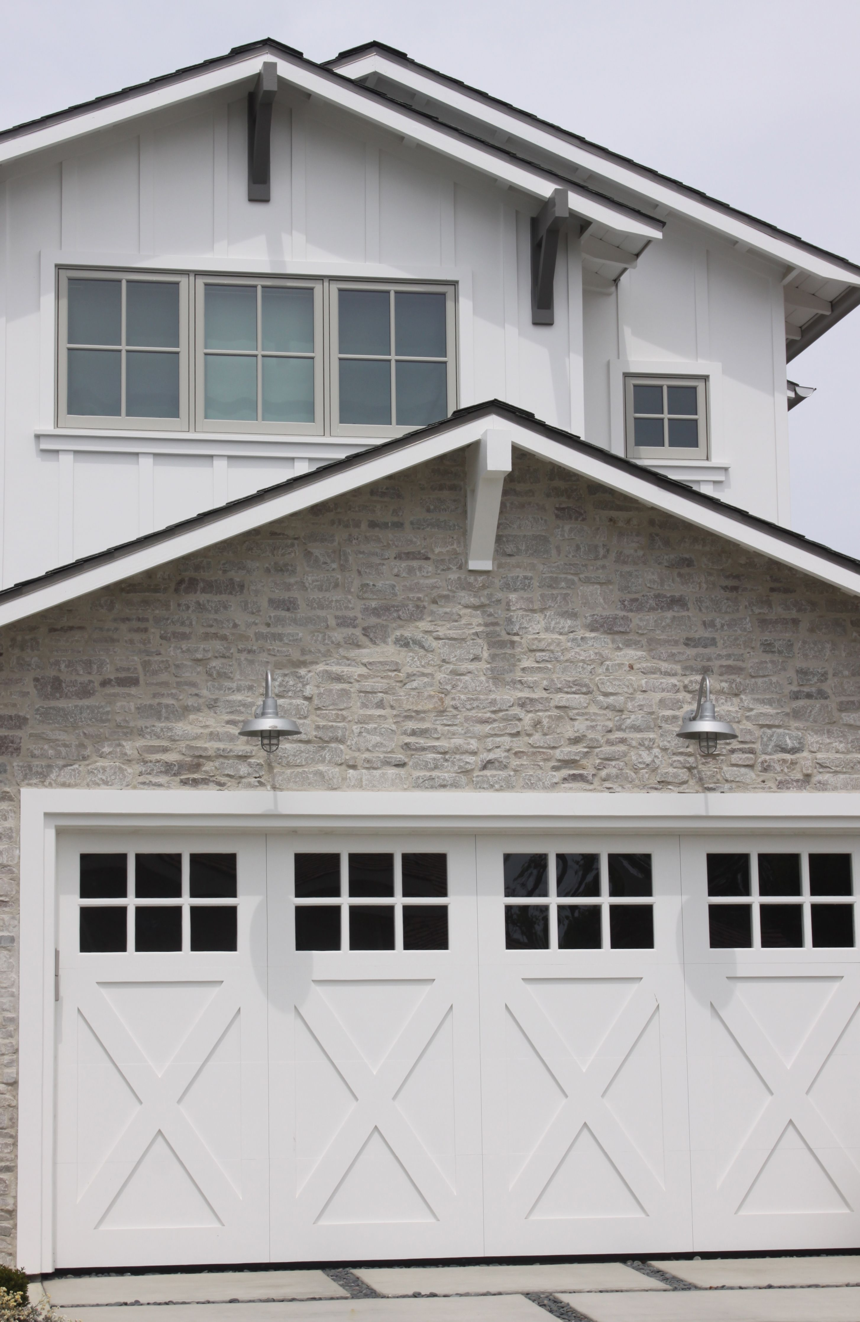 Olsen Home Exteriors: Stone Exterior With Barn Lights