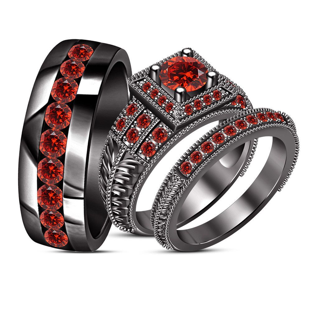 10k black gold finish solitaire red his hers