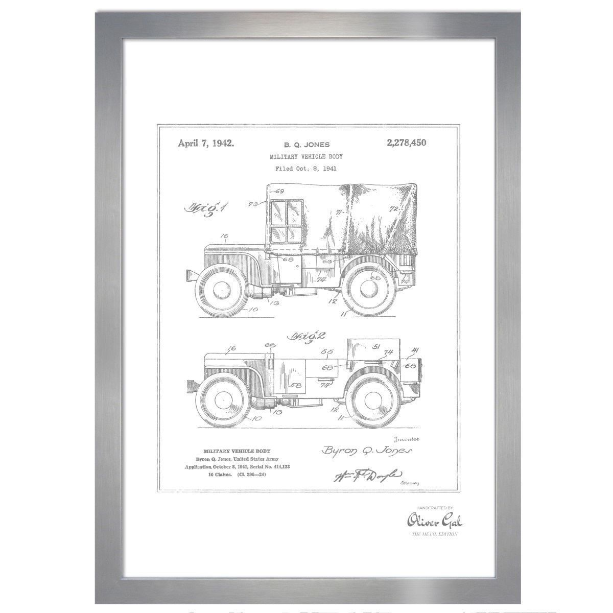 Oliver Gal \'Jeep Willys 1942, Metallic\' Framed Art | Products ...