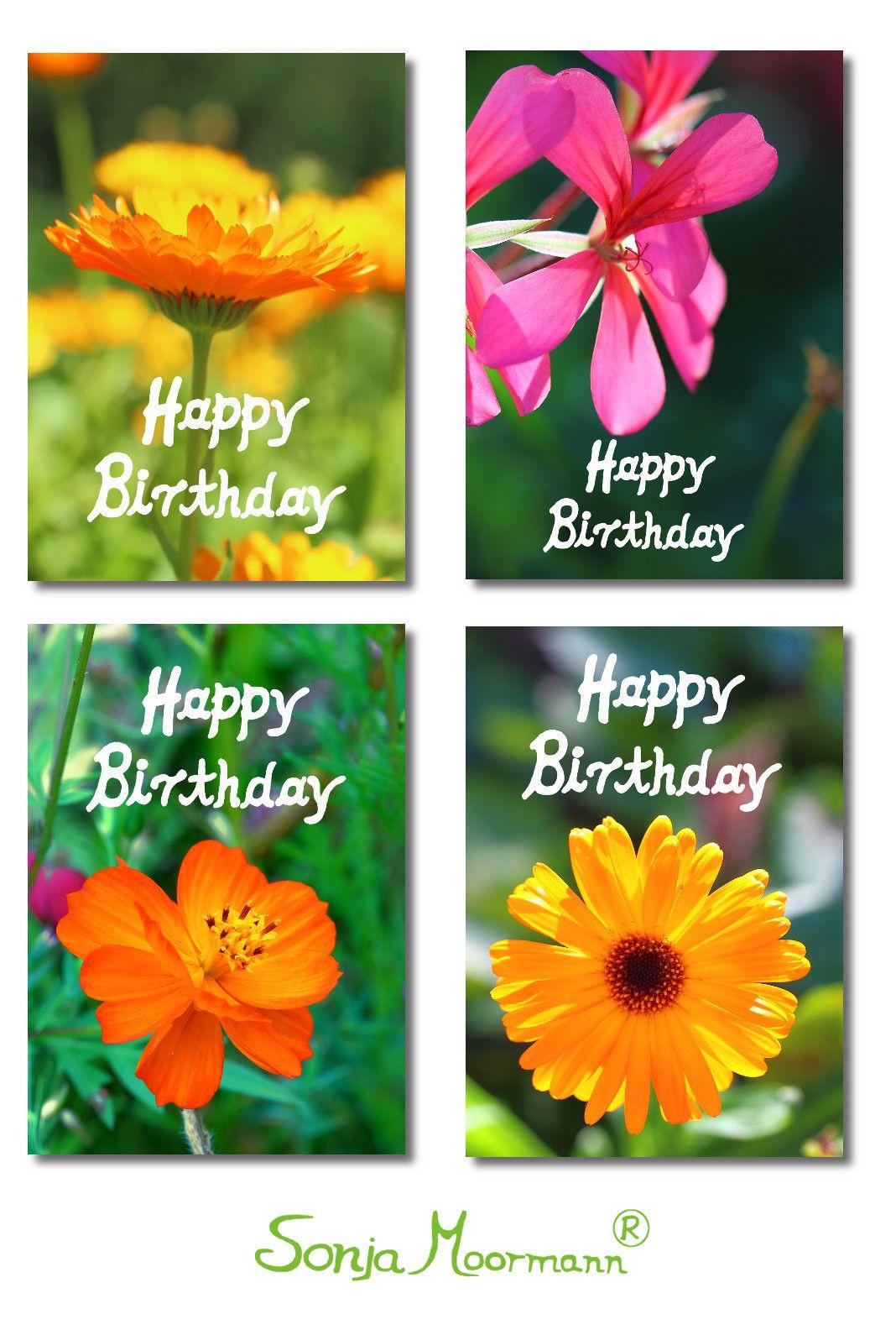 Geburtstagskarten Blumen 4 Unterschiedliche Happy Birthday