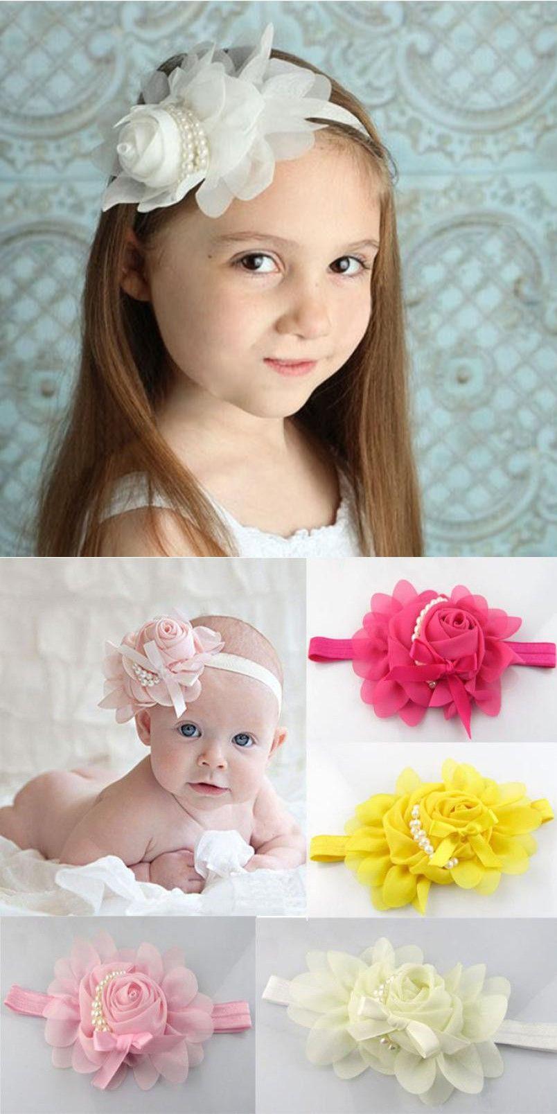 6ba4e70cb8d Baby pearl flower hair band Cloth Lovely Rhinestone Unusual Angel Baby  Pearl Flower Hairband Headband baby