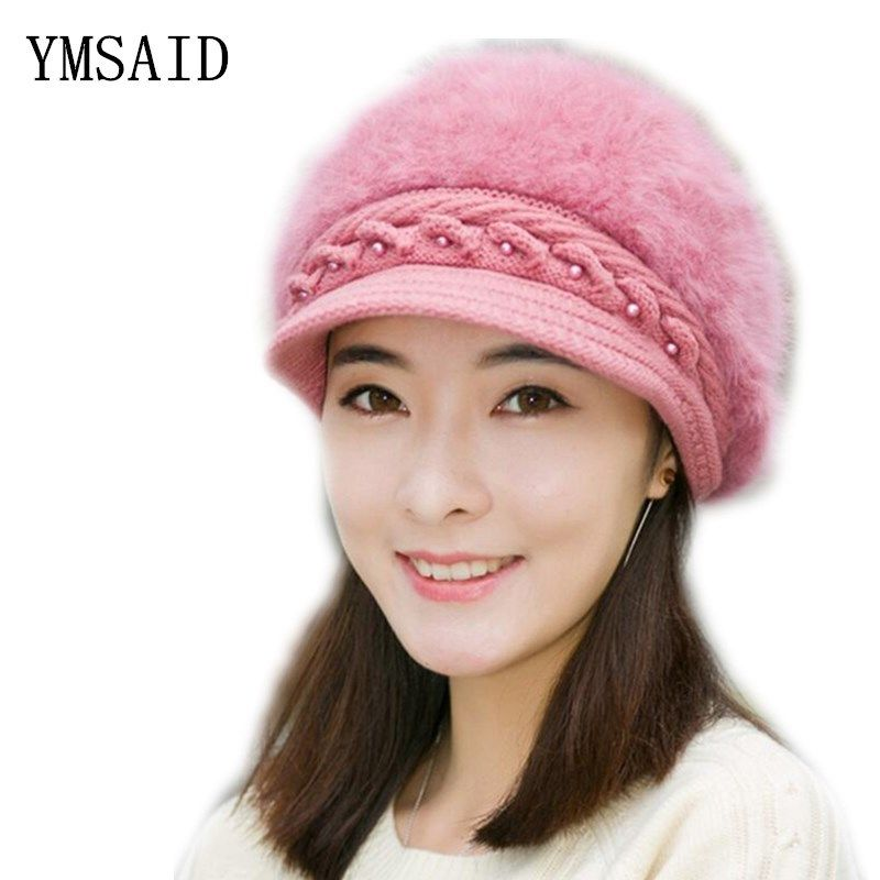 Elegant Women Hat Winter   Fall Beanies Knitted Hats For Woman Rabbit Fur  Cap Autumn And Winter Ladies Female Fashion Skullies now available on  Affordable ... 793156e86f43