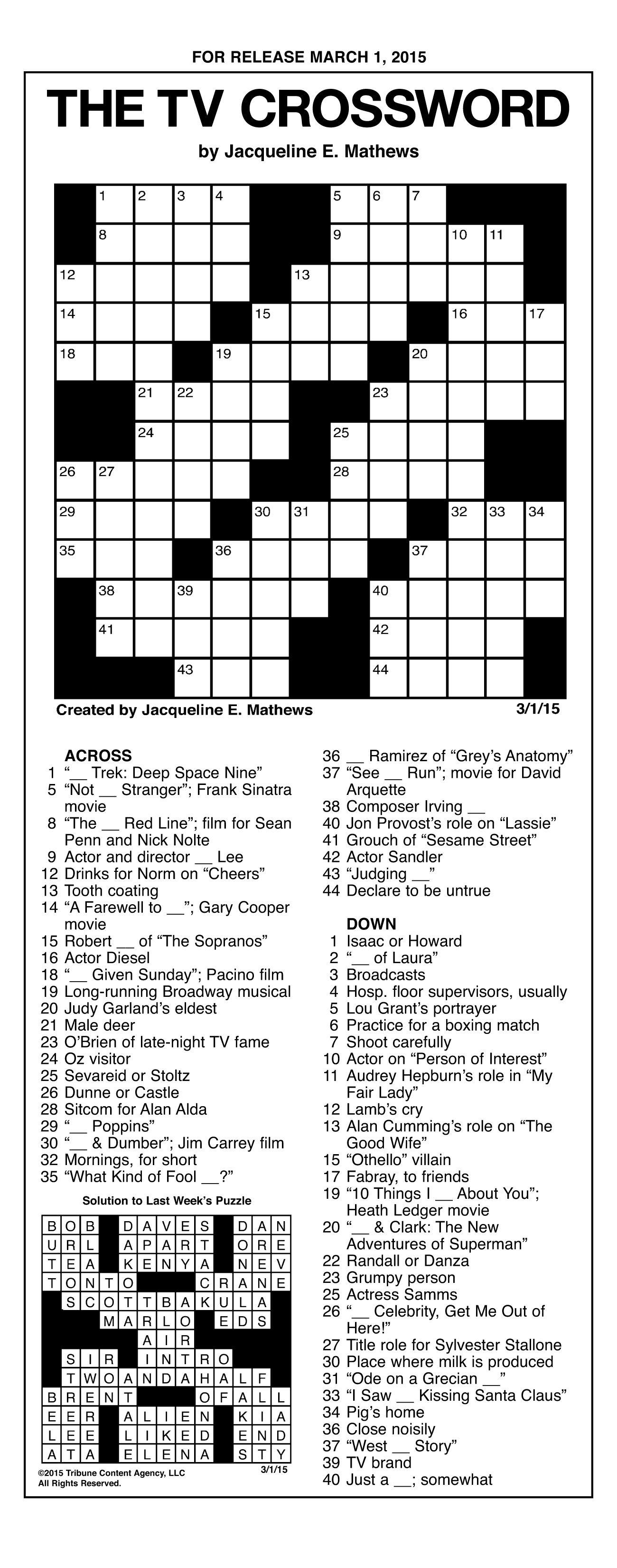 90s Crossword Puzzle Printable In