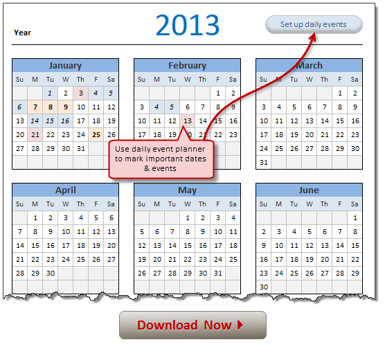Free 2013 Calendar Excel Template Download Today Awesome Stuff