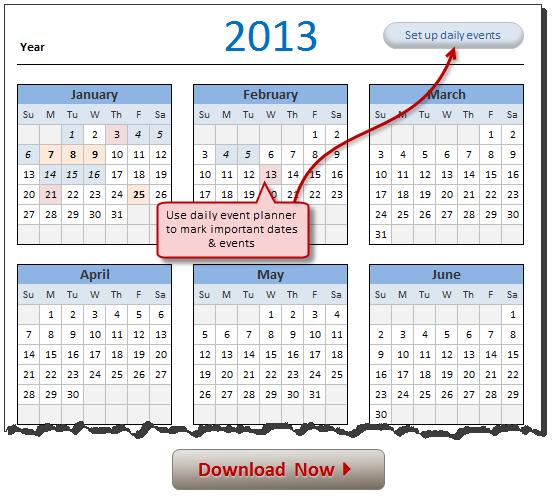excel calendar template 2013