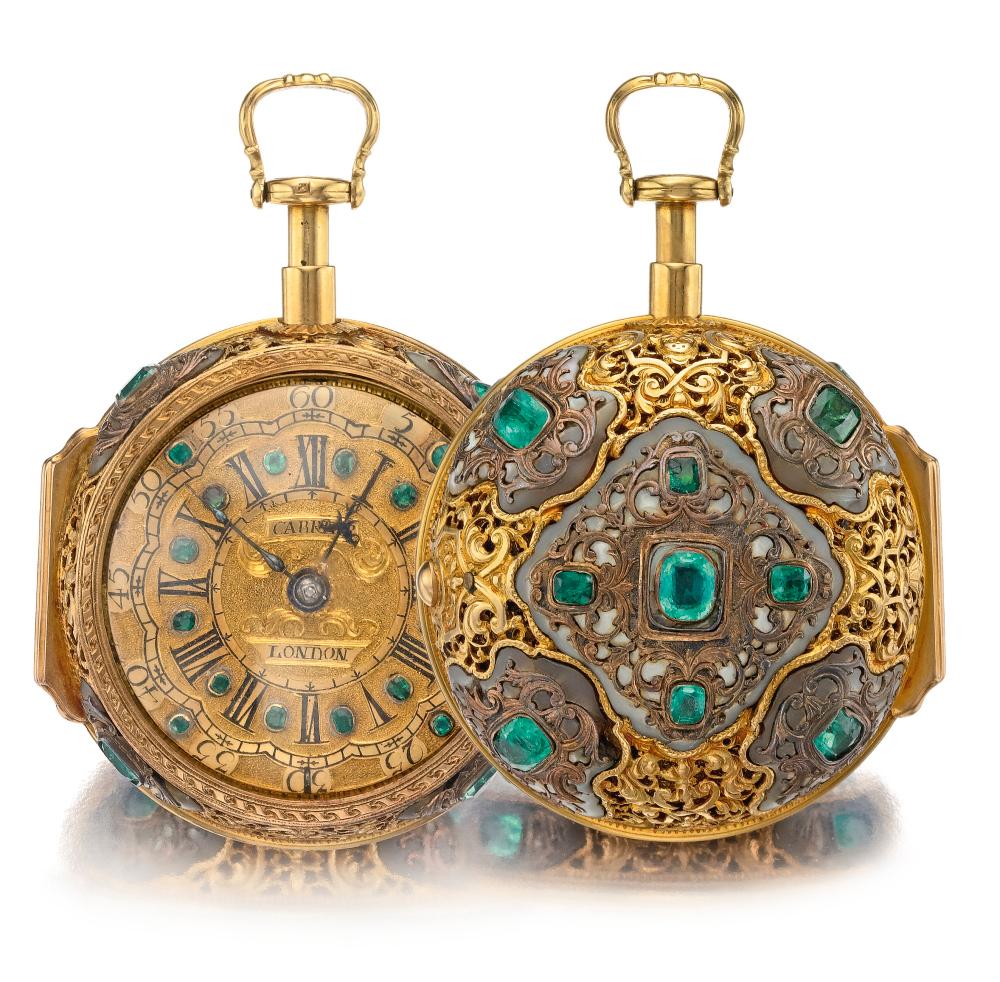 . elegante y raro conjunto de gemas de oro y un par de madres de perlas que repite el reloj holandés para el mercado inglés circa 1720