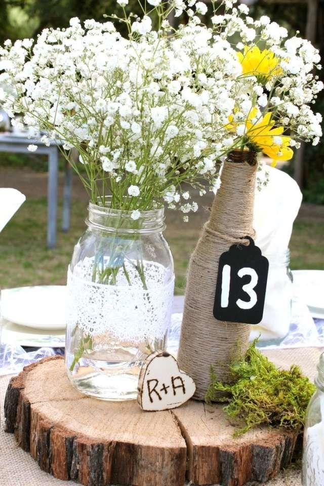 Tischdeko Hochzeit Rustikal Holzscheibe Schleierkraut Moos Weisse