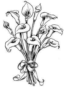 Calla Lillie Bouquet Digi Stamps Calla Lily Bouquet Rubber Stamps Flower Coloring Pages Lily Bouquet Calla Lily Bouquet