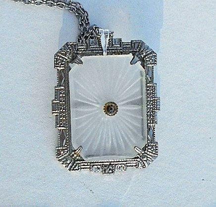 1920s Lovely Art Deco Vintage Camphor Glass Rhodium Original Brooch or Altered Necklace