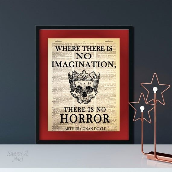 No Imagination, No Horror, Sherlock Holmes Quote, Dictionary Art Print, Printed on Vintage Dictionary Paper, Upcycled, Goth Decor, Book Gift