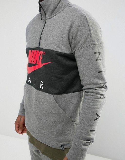 e4df40c4f10d4 Sudadera con media cremallera en gris 861620-091 de Nike Air ...