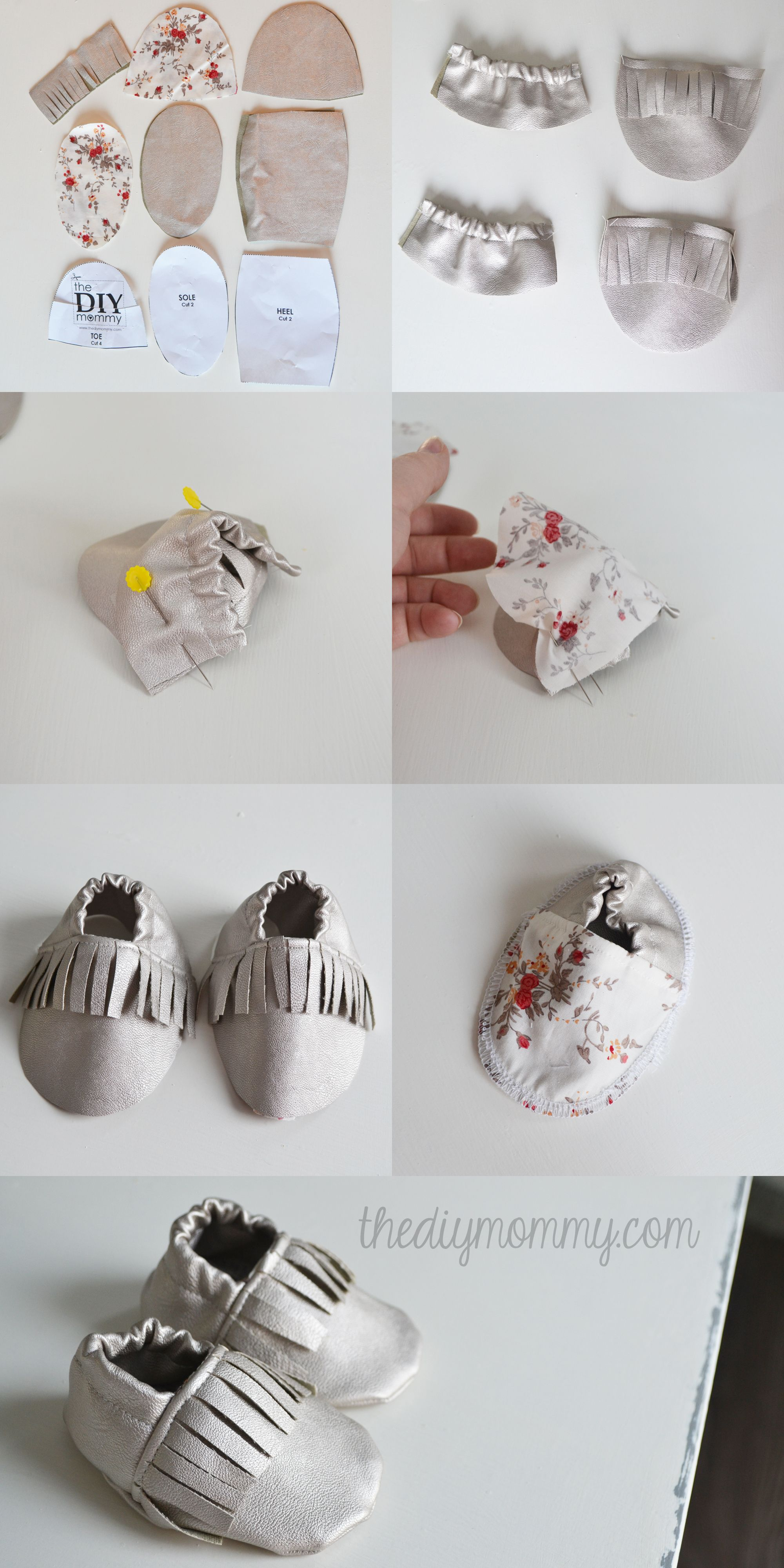 DIY Fringed Leather Baby Booties Moccasins Tutorial | шить ...