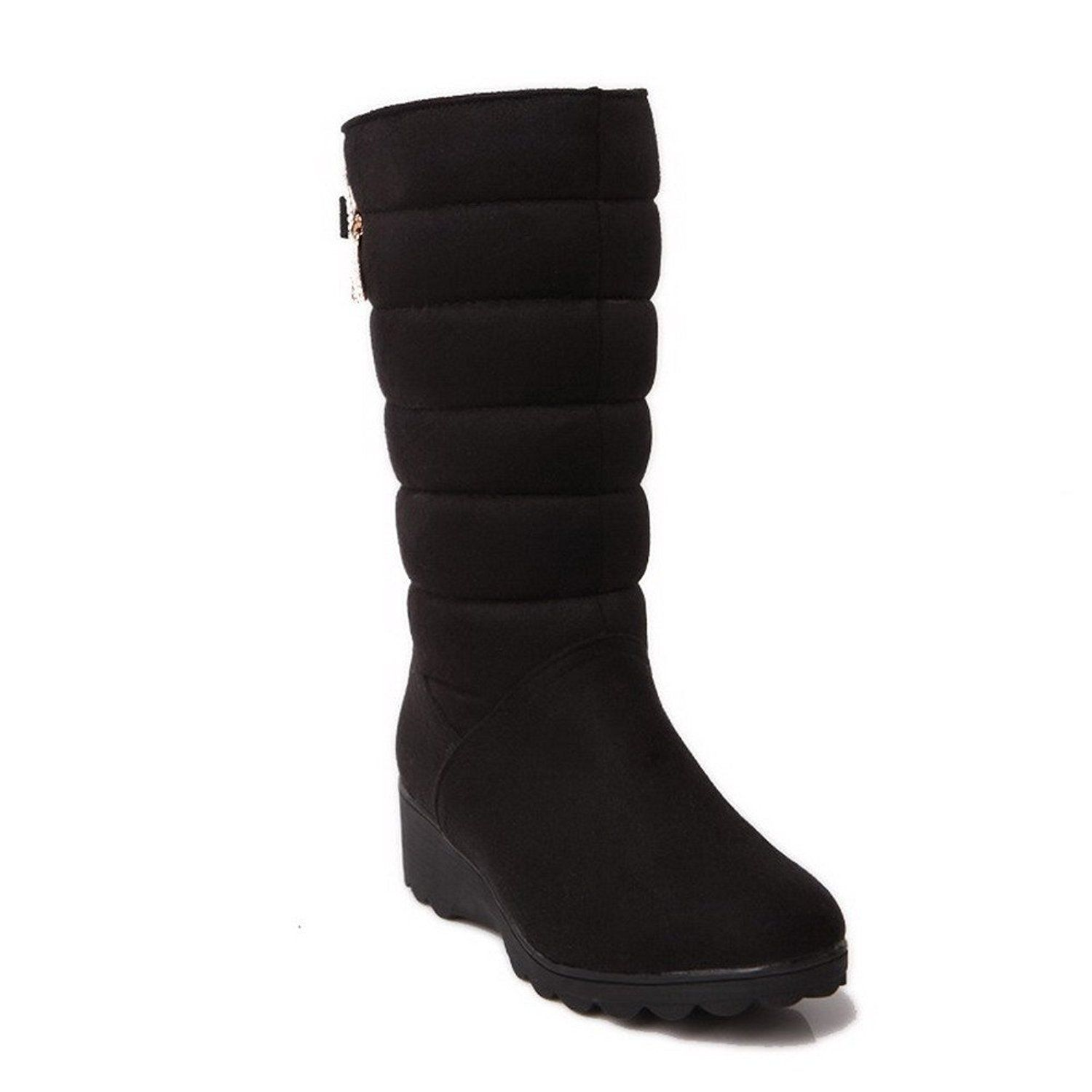 Women's High-Top Solid Pull-On Round Closed Toe Low-Heels Snow-Boots