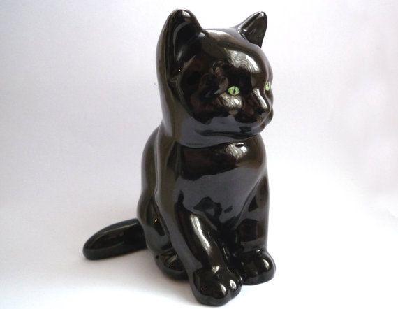 Vintage Black Cat Figurine By Wr Midwinter Ltd Burslem England