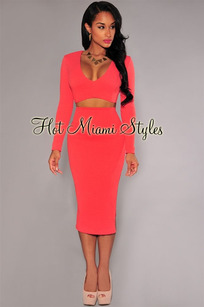 Coral Textured V Neck Long Sleeves Two Piece Set