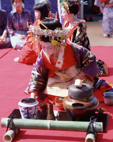 Performing Tea Ceremony In Court Dress Japan Tea Ceremony Japanese Tea Ceremony Japanese Culture