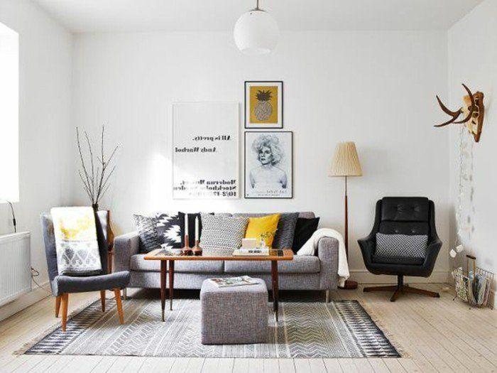 Salon Gris Et Blanc, Peinture Murale Blanche, Mobilier Gris, Quelques  Touches De Jaune