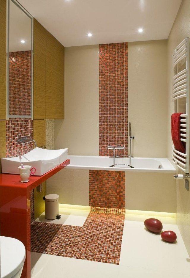 Attraktiv Kleines Bad Badewanne Fliesen Farben Mosaik Orange Creme Indirekte  Beleuchtung Led
