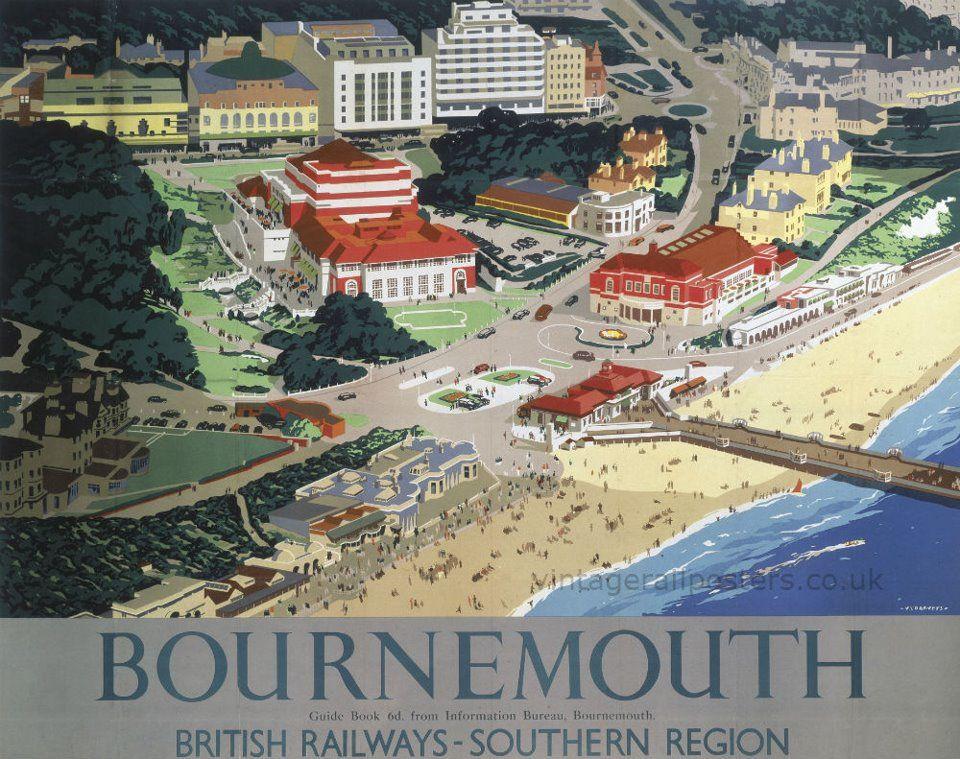 Bournmouth Seaside View  Vintage Deco Railway//Travel Poster Various Sizes