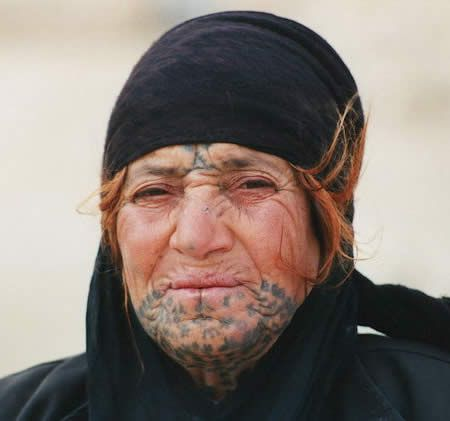 e1fdcdbab473c Modern day Bedouin woman with traidtional facial tattooss: Tattoo History - Arab  Tattoo Images - History of Tattoos and Tattooing Worldwide
