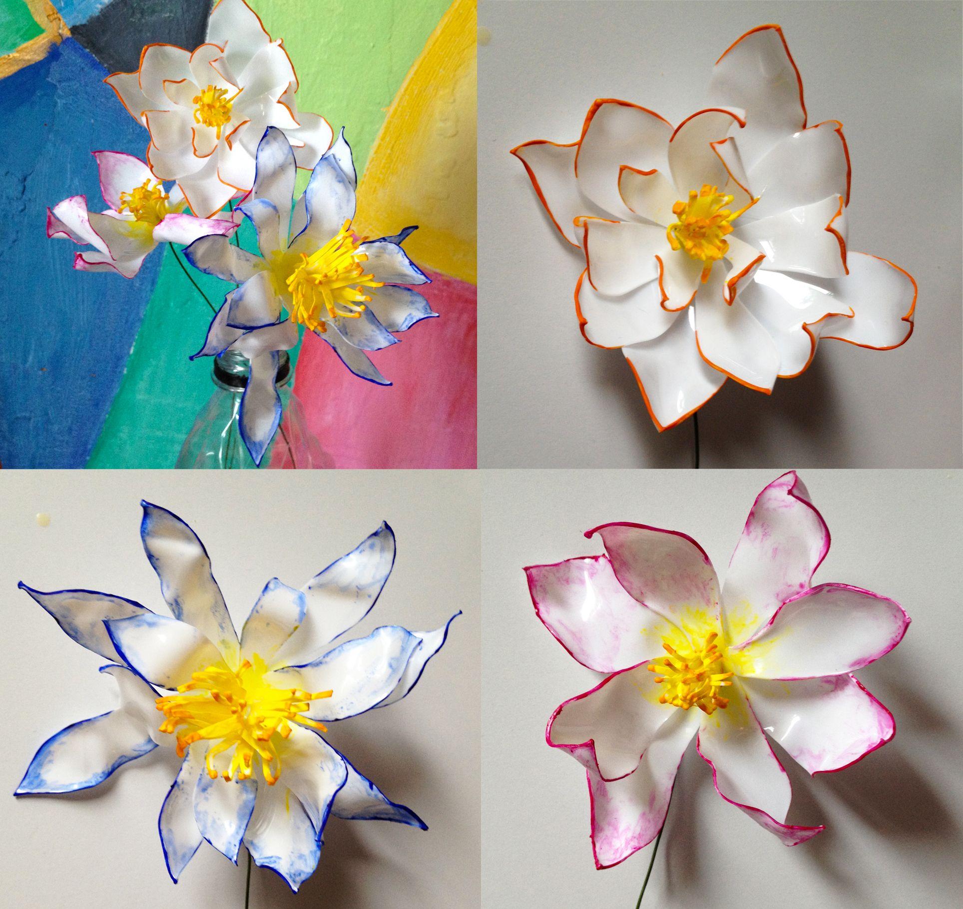 Plastic Bottle Flowers + Acrylic Painting