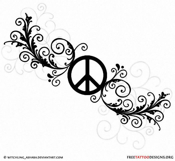 Feminine Peace Sign Tattoo Design Tattoo Wish List Pinterest
