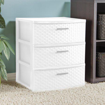 Sterilite 3 Drawer Wide Weave Tower White Walmart Com Storage