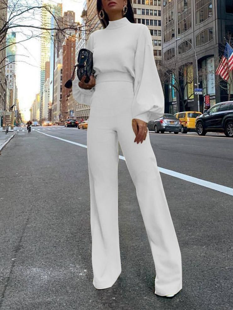 Photo of Solid Color High Collar Long Sleeve Casual Jumpsuit