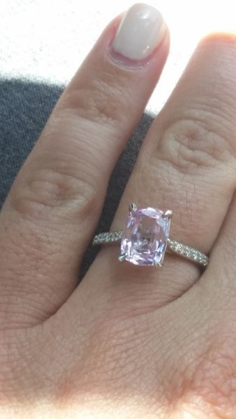 Cushion Cut Light Pink Sapphire Ring Five Fingers Rings Pink
