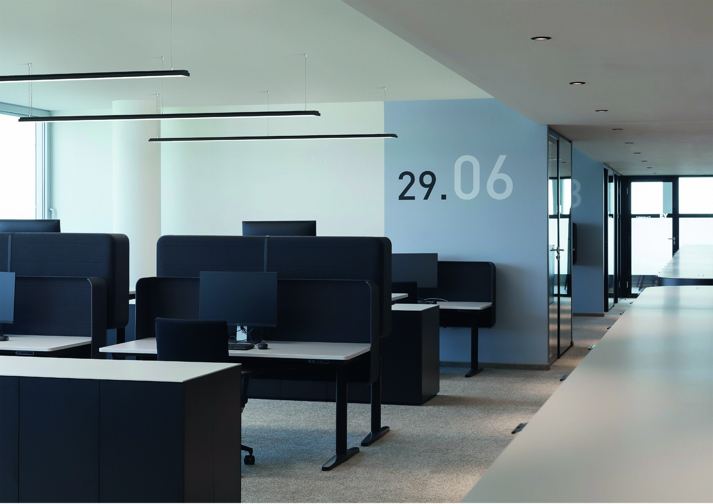 LENO Suspended Ultra Flat Led Profile, Indirect/direct Office Lighting, XAL  In Denmark