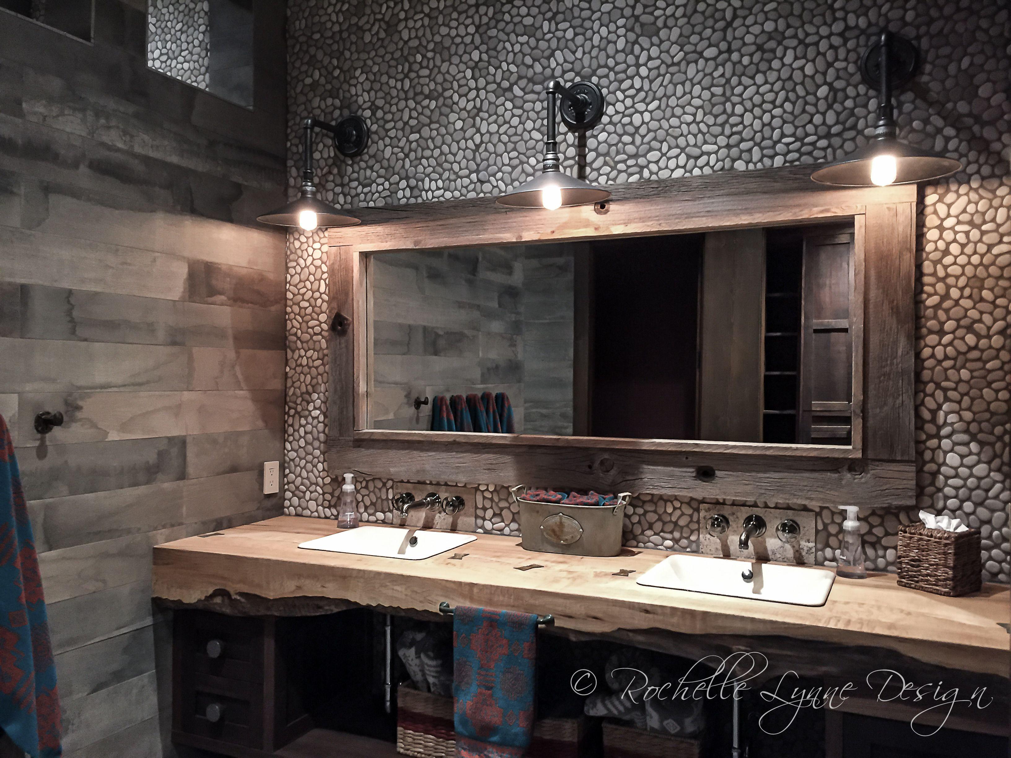 Live Edge Vanity Industrial Lights Wood Tile